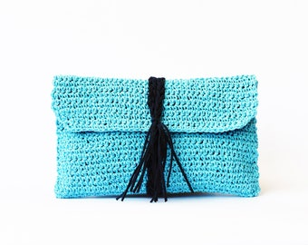 Aqua paper raffia crochet clutch straw beach bag, summer woven clutch bag, raffia turquoise crochet bag straw clutch bag flap clutch purse