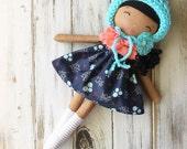 Raven ~ SpunCandy Classic Doll, Heirloom Quality Doll, Modern Rag Doll, Nursery Decor, Kids Decor, Fabric Doll, Cloth Doll, Handmade Doll