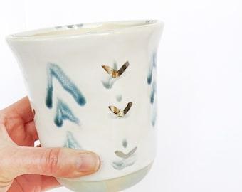 Chevron Planter. Indoor Planter. Ceramic Planter. Succulent Planter. White Gold. Handmade Pottery.