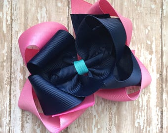 CLEARANCE M2m made to match Eleanor Rose Country Carousel girls medium  double stack hair bow