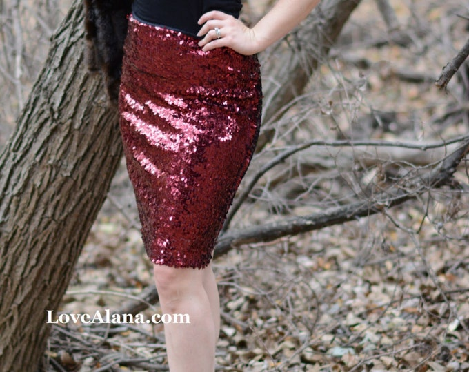 Dark Red Pencil - Oval Sequins - 22 inches - Stretchy, beautiful knee length skirt. Ships asap!