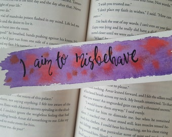 I Aim to Misbehave Watercolor Bookmark, Gift For Booklover