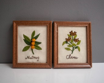 Vintage Pair of Crewel Embroidered Wall Hangings - Clover and Nutmeg