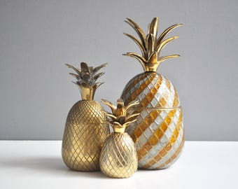 Vintage Two-Tone Brass Pineapple Container or Candle Holder