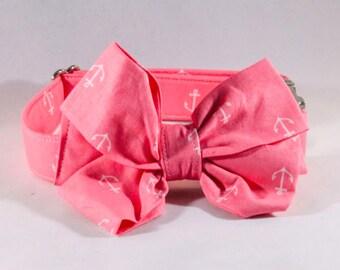 Pink Anchor Girl Dog Bow Tie Collar