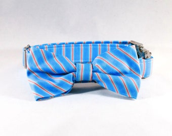 Preppy Aqua and Coral Seaside Bow Tie Dog Collar