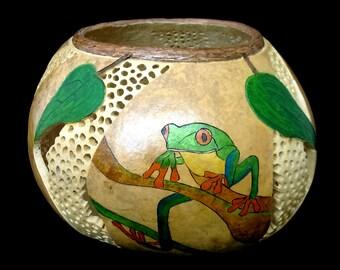 Being Green  - Gourd Art Bowl