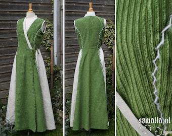 Sleeveless Kimono dress in green velvet and natural linen - Size eu 36-38/ us 10-12 - (Cosplay, Larp, Renfaire, Comic Con) - <READY TO SHIP>