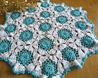 Vintage Doily Crocheted Large Doily Green Lagoon & White  Doilies  F5