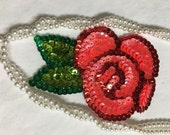 2 Beaded Sequins FLOWERS  Applique in RED