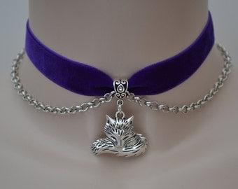 FOX Head n TAIL Charm Pendant With Chain PURPLE Velvet 16mm Ribbon Choker Necklace - kg... or choose another colour velvet please :)