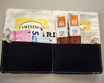Wallet, tea bag wallet, sweetener packets, coffee packets, credit cards, business cards, convenient and handy