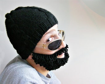 Ski mask ,crochet Hat and knitted beard ,beard and hat set