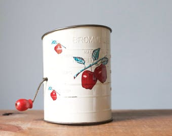 Vintage Bromwell's White Flour Measuring Sifter with Red Apple Design and Handle