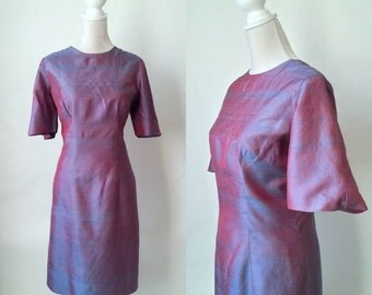 Vintage Purple Dress, Purple Silk Dress, Vintage Silk Dress, Vintage Purple Silk Dress, Retro 80s Dress, 1980s Silk Dress, 1980s Purple Silk