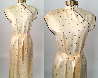Vintage 1970s Does 1930s Champagne Satin Cheongsam Dress, Small, Bird Pattern