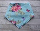 Springtime Bibdana with Constrasting Stitching - Baby Girl - Baby's First Easter - Shower Gift