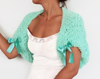 Mint Green Bridal Bolero Shrug Winter Wedding Cape Dress Cover-up, Pastel Wedding Jacket, Knitted Bolero Faux Fur
