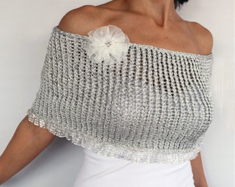 Silver Bridal Cape, Wedding Shrug Dress Cover, Sparkling Capelet Shimmering Knit Bolero