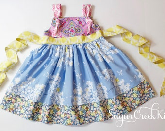 Marie Knot Dress. RTS  Blue, Pink Yellow Floral Knot Dress Sizes: 2T, 3/4T, 5/6, 7/8