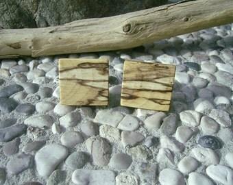 WOODEN CUFFLINKS Square Spalted HAZELNUT Wood Handcrafted Wooden Cufflinks