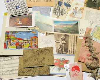 Large Vintage Ephemera Pack: 120+ Pieces Original Antique and Vintage Ephemera Lot, Collage Pack,  Mixed Media Inspiration