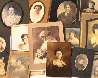 Vintage Photos, Antique Photos of Women, Victorian Cabinet Cards, 17 Vintage Photographs