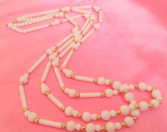 Vintage TRIFARI White Long Beaded Multi Strand Necklace