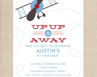 Up Up and Away Airplane Printed Invitations