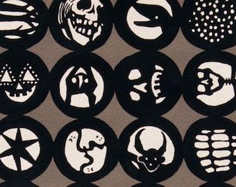 Los Diablitos - Alexander Henry - 7956B - Black Fabric - Retro - Skull - Halloween Fabric - Gothic Fabric - Cotton Fabric - by the Yard