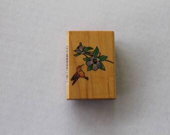Hummingbird Flower Columbine Rubber Stamp by Comotion #332