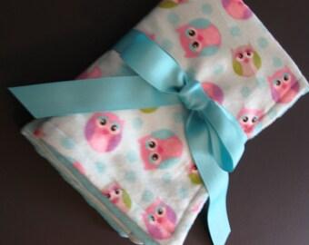 Minky Flannel  Burp Cloth Set  - Aqua Owls - Baby Gift- Shower Gift- Super Absorbent - SALE