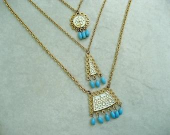 Vintage Florenza Multi Pendant Necklace Blue Glass Dangles