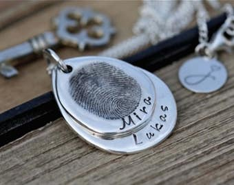 Fingerprint Teardrop Duo Necklace