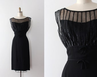 vintage 1950s Peggy Hunt dress // 50s 60s little black dress