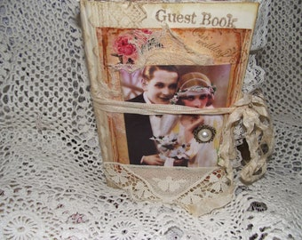 A  Wedding Junk Journal  With Coffee Stained Pages Pockets Cards Handmade 48 Pages