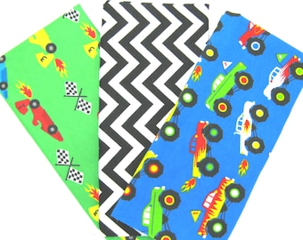 3 Pack of Flannel Fabric Fat Quarters in a Bundle of Bright Monster Trucks, Chevron and Race Car Matching Prints