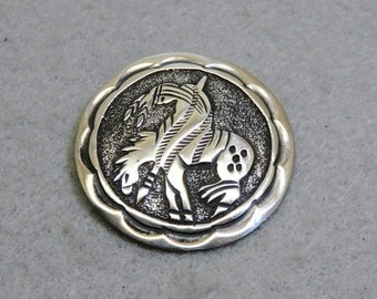 Vintage Sterling Native American End of the Trail Brooch or Pendant