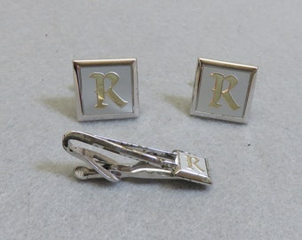 Vintage Silver and Gold Initial R Cufflinks and Tie Bar Set, Swank Tie Clasp and Cufflinks