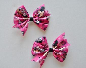 Hair Bows, Miss Mouse hair bows,  Pigtail Bows, Hot Pink hair bow set, Nonslip grip bows, Mouse Hair Bows, Toddler Hair Bows, 3 inch bows