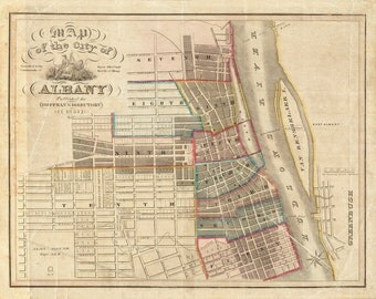 Vintage Map - Albany, New York 1851