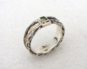"14K Red Gold / Sterling Silver / Olivine Ring : "" Streak """