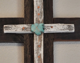 Unique turquoise cross, - home decor, rustic decor religious One of a kind reclaimed wood cross