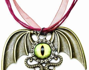 Dragon's eye and wings antique steampunk pendant organza adjustable necklace