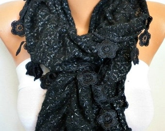 ON SALE --- Black Ruffle Knitted Scarf, Fall Winter Lace Scarf. Shawl Scarf Flower Scarf Cowl Scarf, Gift For Her Women's Fashion Accessorie