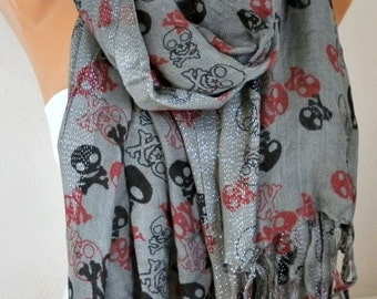 Gray Skull Print Cotton Scarf,Crossbones, Silvery, Cowl Scarf, Shawl, Gift Ideas For, Her Women Fashion Accessories