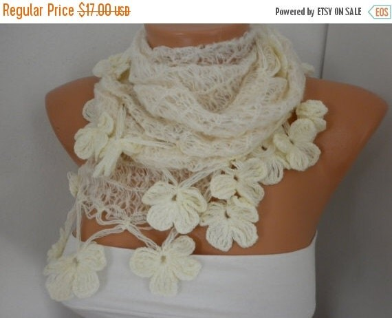ON SALE --- Creamy White Knitted Scarf,Wedding Shawl,Bridal Scarf,Bridal Accessories,Bridesmaid Gift, Cowl, Gift Ideas for her,Women Fashion