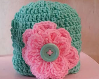 Teal Beanie Hat with flower, button, crochet, colorful, white, large flower, white, pink, warm, weather, cold, snow, messy bun hat