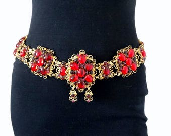 Vintage K.J.L. Kenneth J Lane Massive Wide Red Rhinestone Cabochon Scrolled Hearts Belt D&E Rare 1960's Beauty!