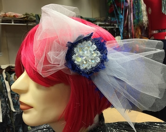 Blue and White Frosty Crochet Flower Hair Clip Facinator with Tulle and Feathers